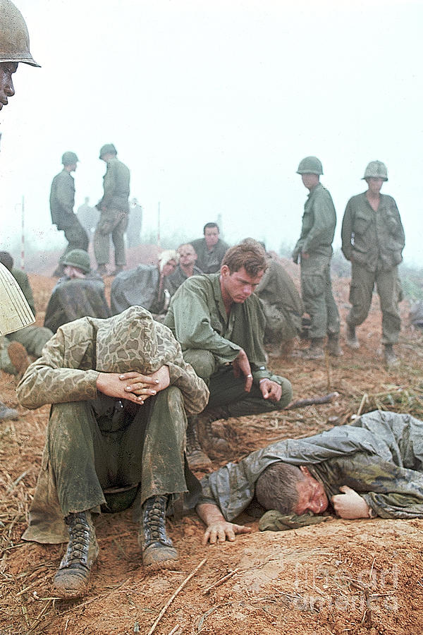 Wounded American Soldiers Await Photograph by Bettmann