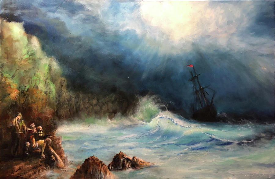 Seascape Painting - Wreck of the Angel by Ted Coombs