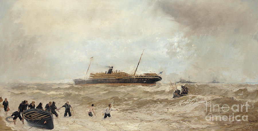 Sea Painting - Wreck Of The Delhi Off Cape Spartel, 13th January 1911, Landing Of The Princess Royal, 1912 by Algernon Yockney