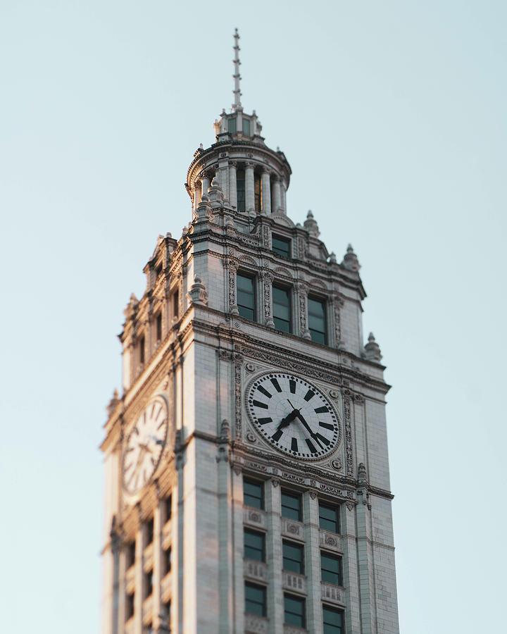 Wrigley Building Clock Photograph