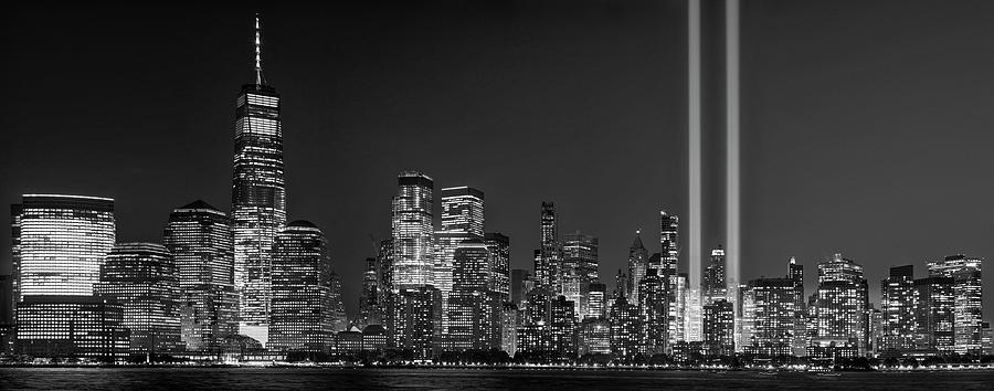 WTC 911 Tribute In Lights BW by Susan Candelario
