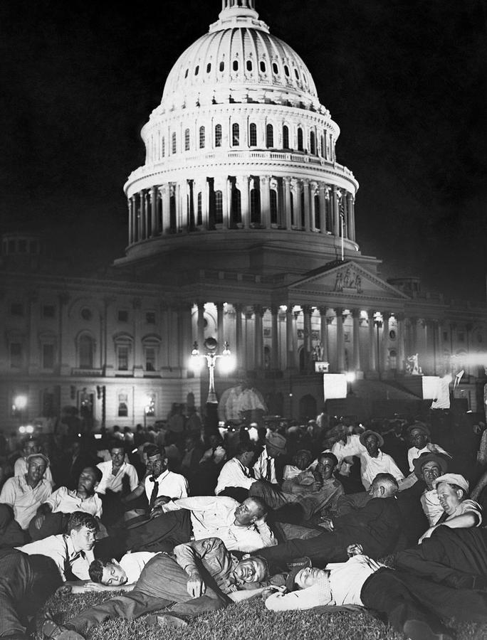 Bonus Army Photograph - Wwi Bonus Army Camped At Capitol - 1932 by War Is Hell Store