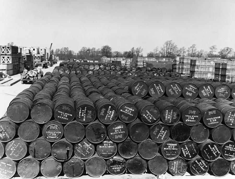 Wwii: Oil Drums, 1944 by Granger