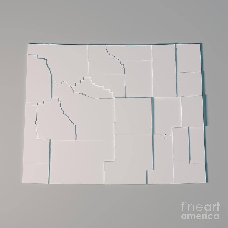 Wyoming Us State Map Administrative Divisions Counties 3d Render - Wyoming-us-map