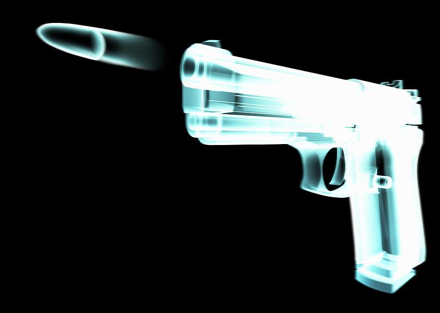Motion Digital Art - X-ray Of Gun Firing Bullet Digital by Gary Cornhouse