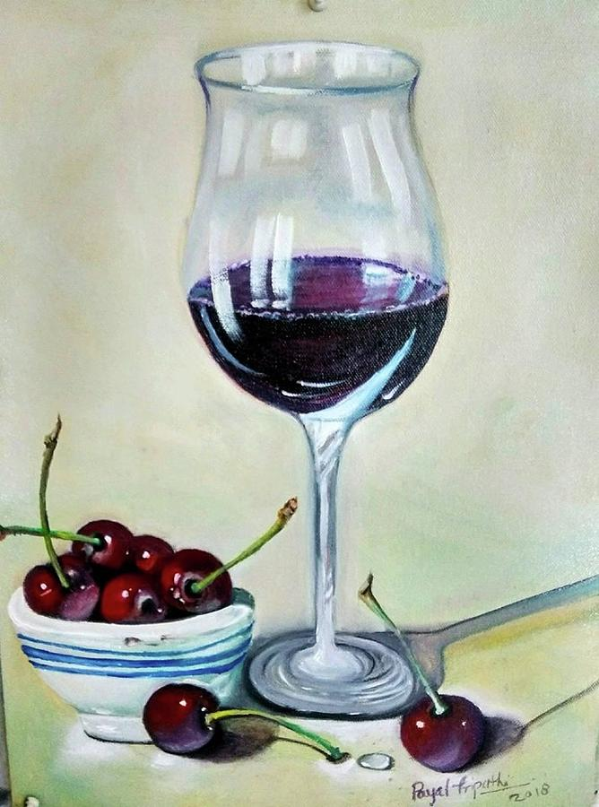 Wine Glass With Plump Painting