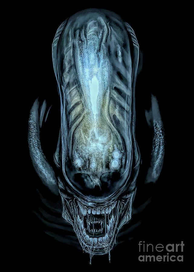Alien Mixed Media - Xenomorph by Kultur Arts Studios