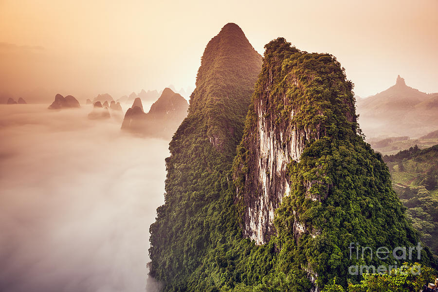 Rural Photograph - Xingping, Guilin, China Karst Mountains by Sean Pavone