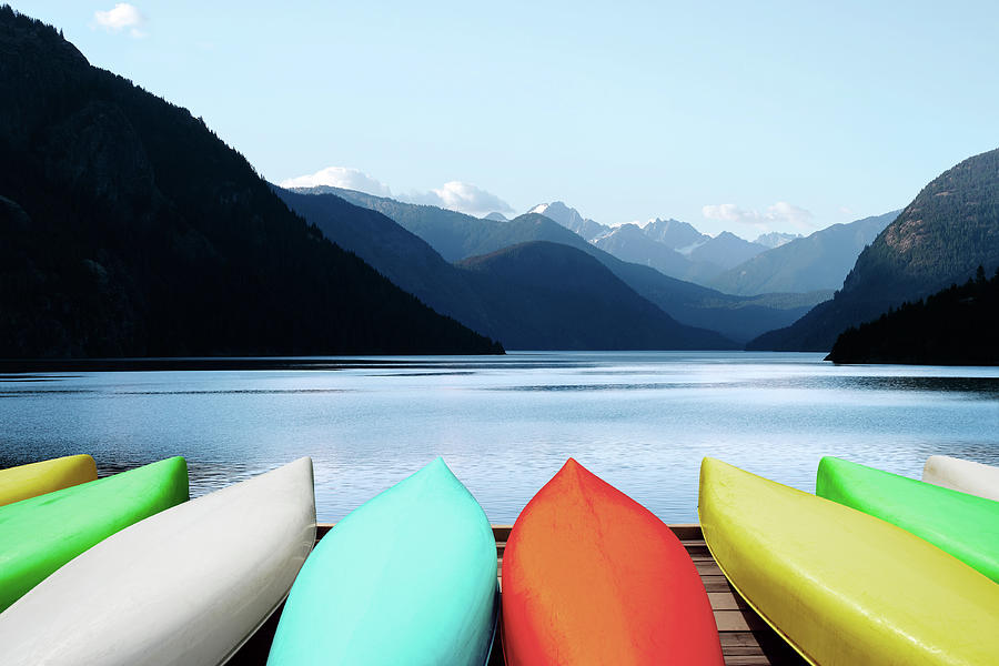Xl Canoes And Mountain Lake Photograph by Sharply done