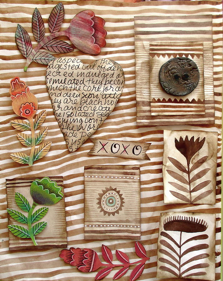 Heart Mixed Media - Xoxo by Elaine Jackson