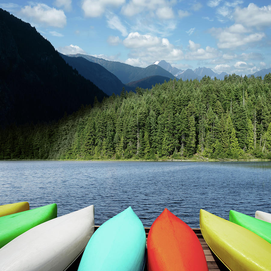 Xxl Canoes And Mountain Lake Photograph by Sharply done