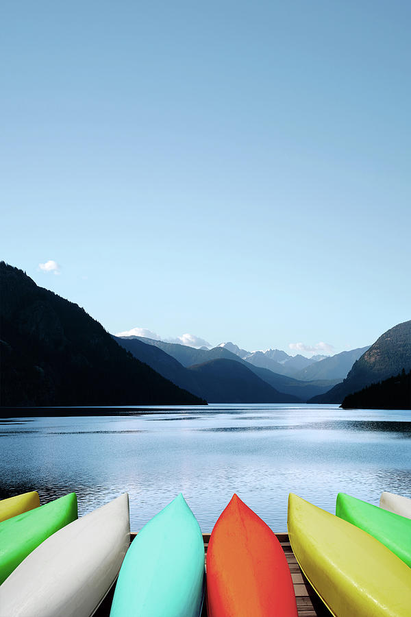 Xxxl Canoes And Mountain Lake Photograph by Sharply done