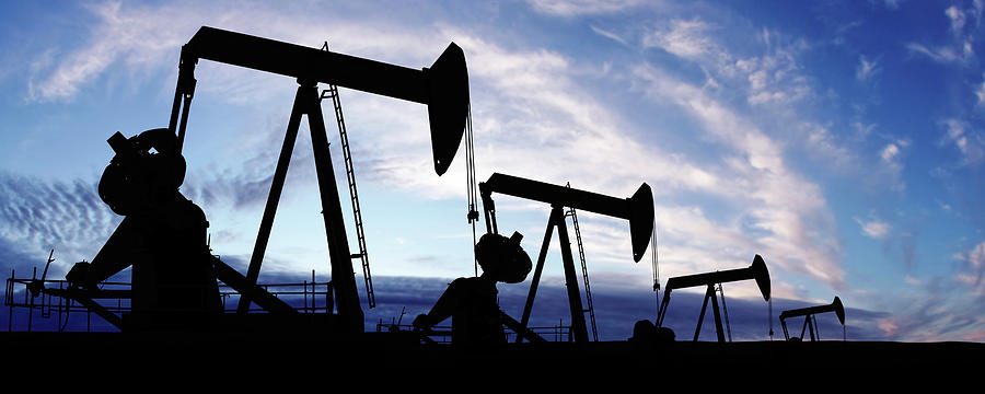 Scenic Photograph - Xxxl Pumpjack Silhouettes by Sharply done