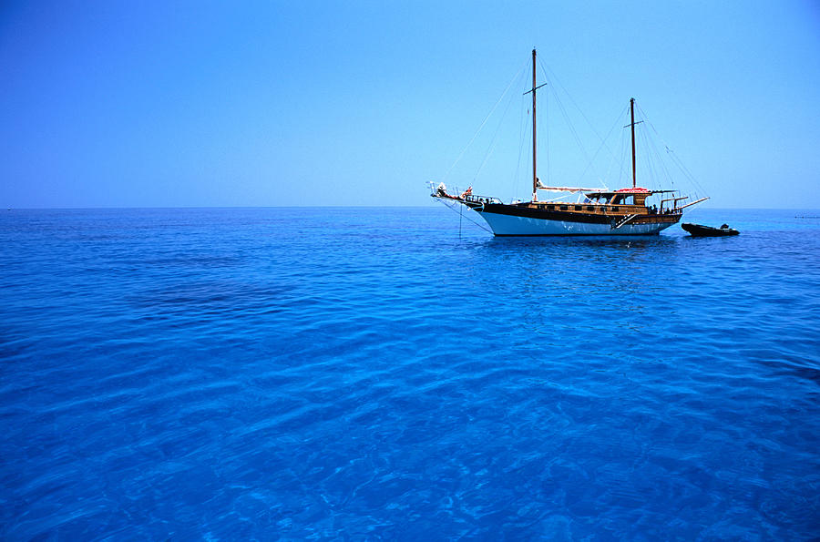 Yacht Anchored In Waters Of Gulf Of Photograph by Dallas Stribley