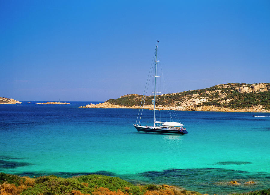 Yacht In Picturesque Bay Photograph by Ellen Rooney