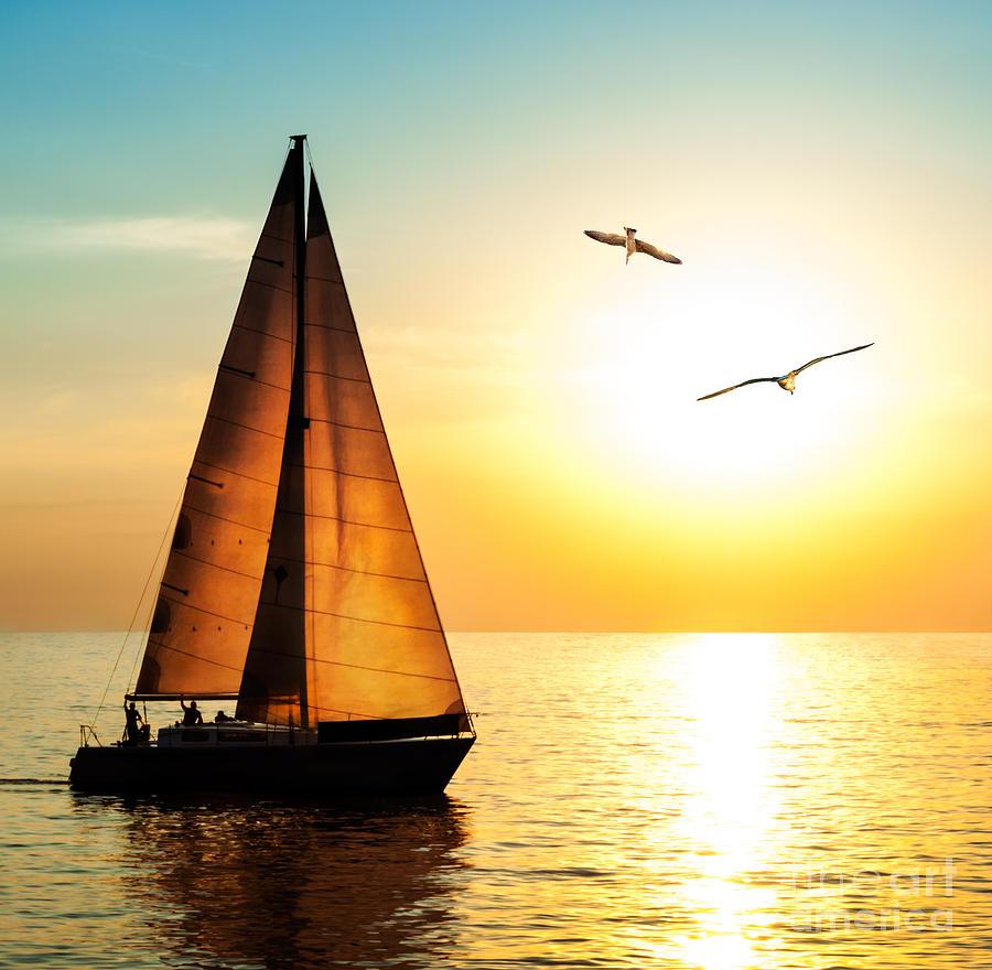 Sailboat Photograph - Yacht Sailing Against Sunset Holiday by Repina Valeriya