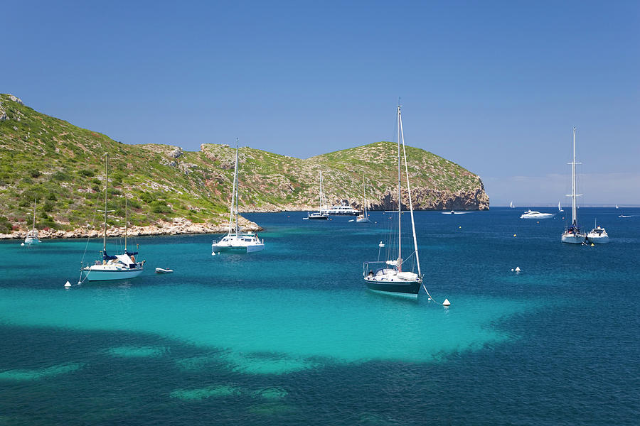 Yachts At Anchor In Cabreras Sheltered Photograph by David C Tomlinson