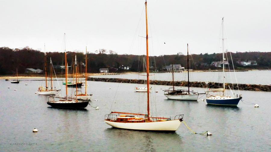Yachts at Vineyard Haven by Kathy Barney