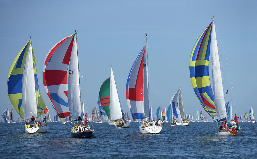 Yachts Flying Spinnakers During Race Photograph by Simon Battensby