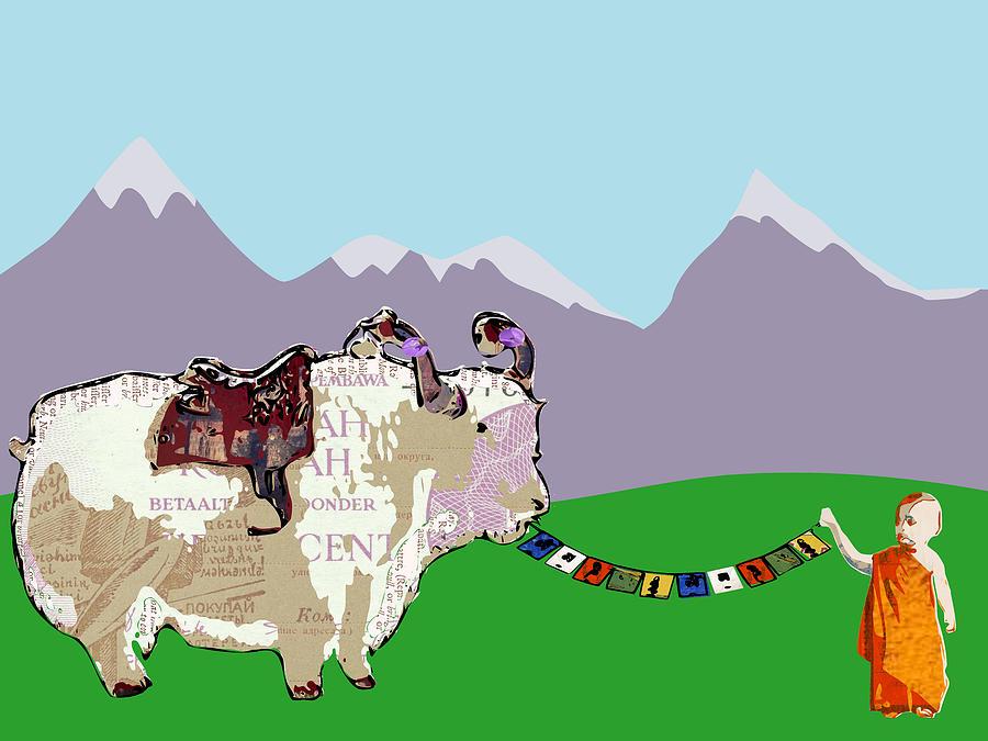 Yak Monk And Prayer Flags Digital Art