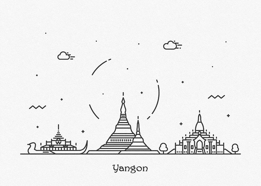 Yangon Cityscape Travel Poster by Inspirowl Design