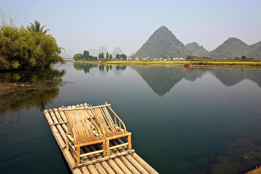 Yangshuo, Bamboo Raft On The Yulong Photograph by John Seaton Callahan
