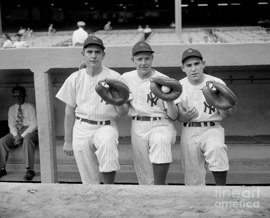 Yankees Catchers Aaron Robinson, Ralph Photograph by New York Daily News Archive