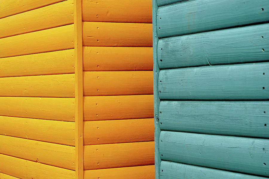 Yellow & Blue Beach Huts Abstract Photograph by Kevin Button