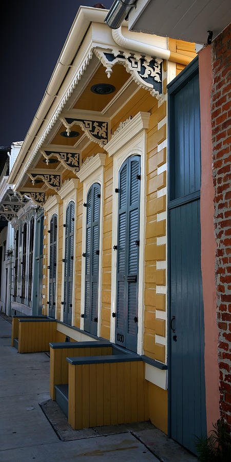 Yellow and Blue Ornate French Quarter House by Debi Dalio
