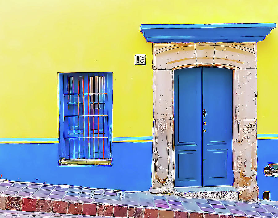 Yellow and Blue Wall with Blue Door and Window by Douglas J Fisher