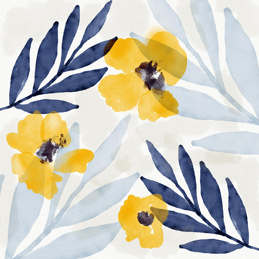 Flowers Mixed Media - Yellow And Navy 1- Floral Art By Linda Woods by Linda Woods