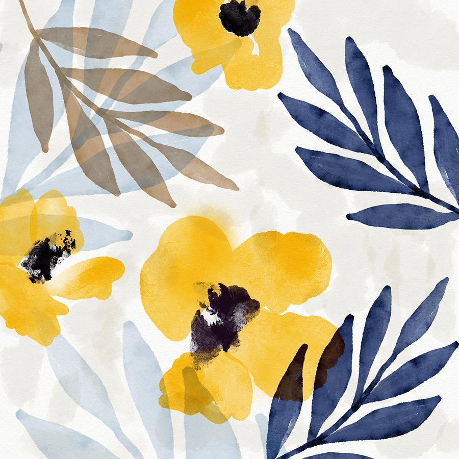 Flowers Mixed Media - Yellow And Navy 3- Floral Art By Linda Woods by Linda Woods