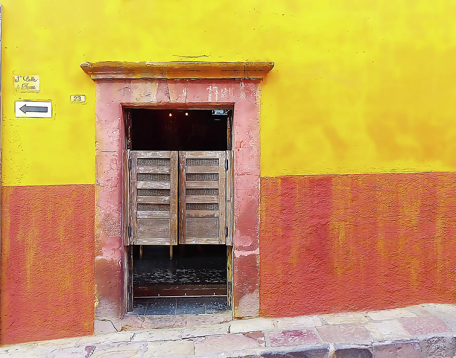 Yellow and Orange Wall with Saloon Door by Douglas J Fisher