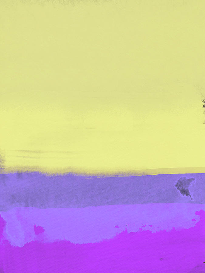 Landscape Painting - Yellow And Purple Abstract by Naxart Studio