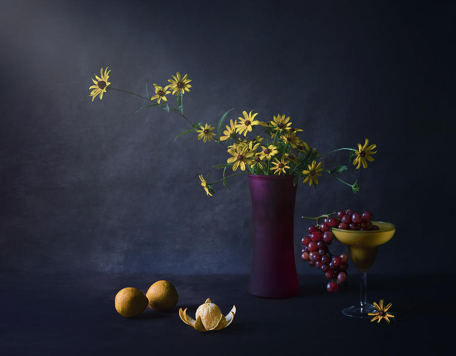 Still Life Photograph - Yellow And Purple by Suzanna Shi