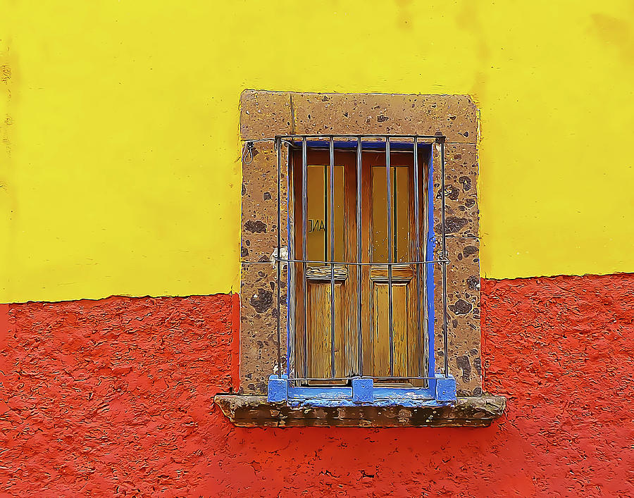 Yellow and Red Wall with Barred Window by Douglas J Fisher