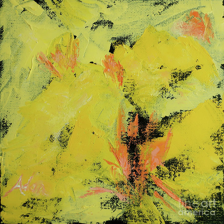 Decorative Painting - Yellow Blooms Coral Accents by Felipe Adan Lerma