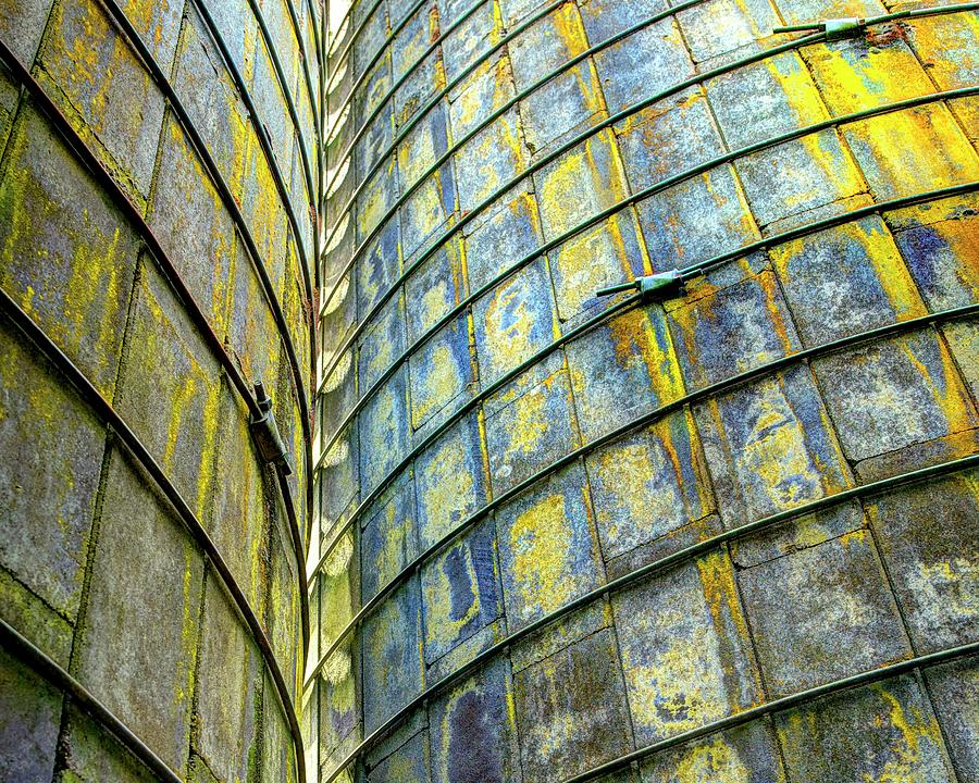 Yellow Blue Lichen Silo Abstract by Jerry Sodorff