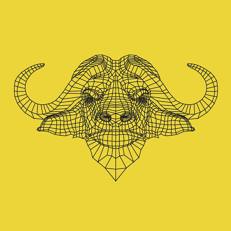 Buffalo Digital Art - Yellow Buffalo by Naxart Studio