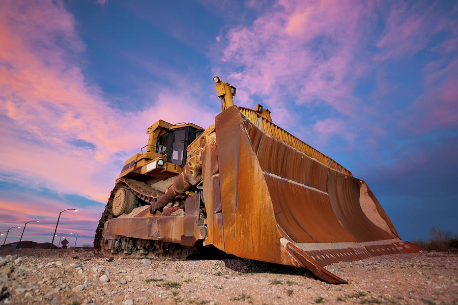Yellow Bulldozer Working At Sunset Photograph by Wesvandinter