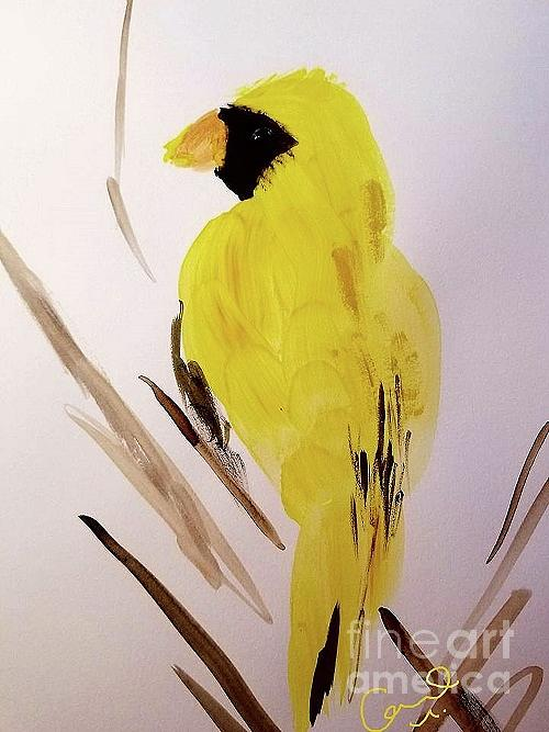 Yellow Cardinal  Painting by Rose Elaine