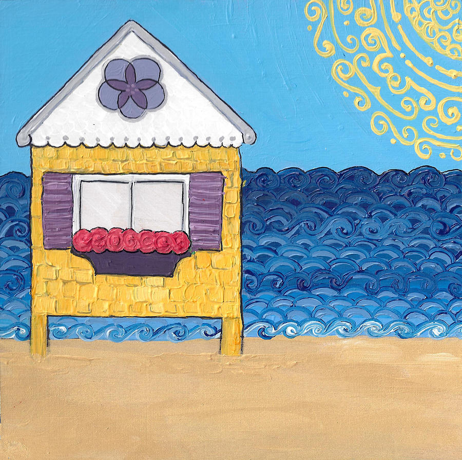 Yellow Cottage on the Beach by Caroline Sainis