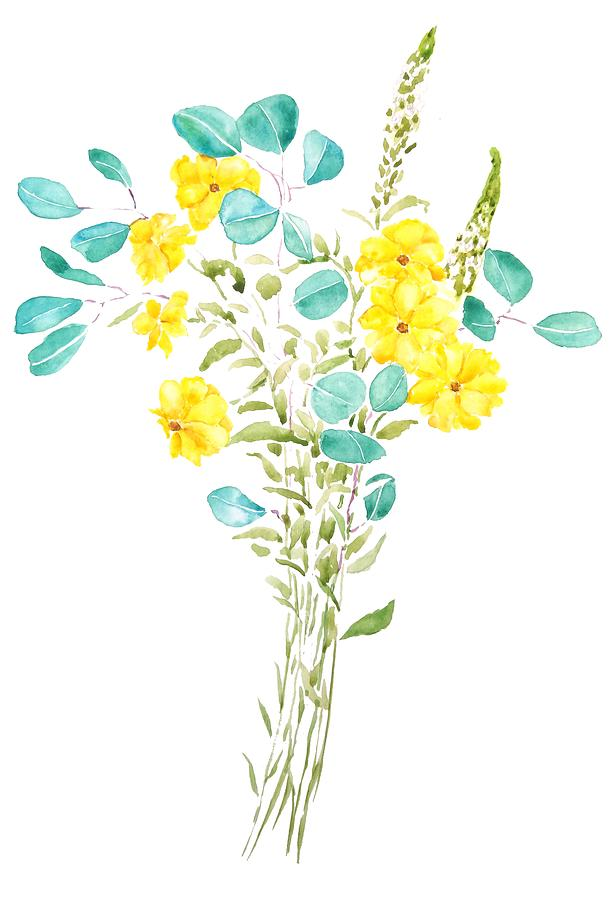 yellow flower and green eucalyptus leaf  by Color Color