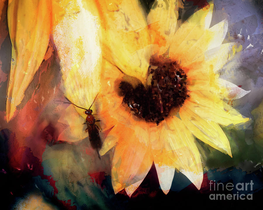 Yellow Flower Mixed Media - Yellow Flower And Insect by Laura L Leatherwood