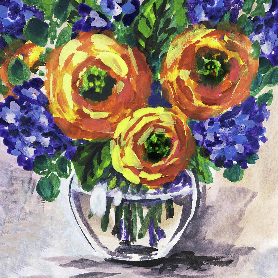 Yellow Flowers Bouquet Floral Impressionism  by Irina Sztukowski