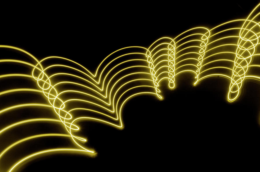 Yellow Gold Abstract  Lights Trails And Photograph by John Rensten