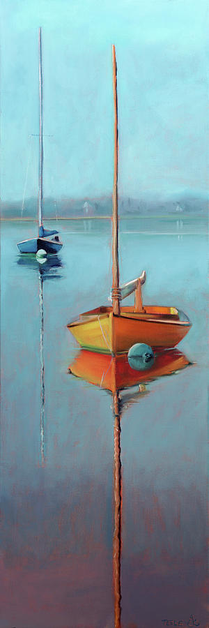 Yellow Hull on Menemsha Pond by Trina Teele