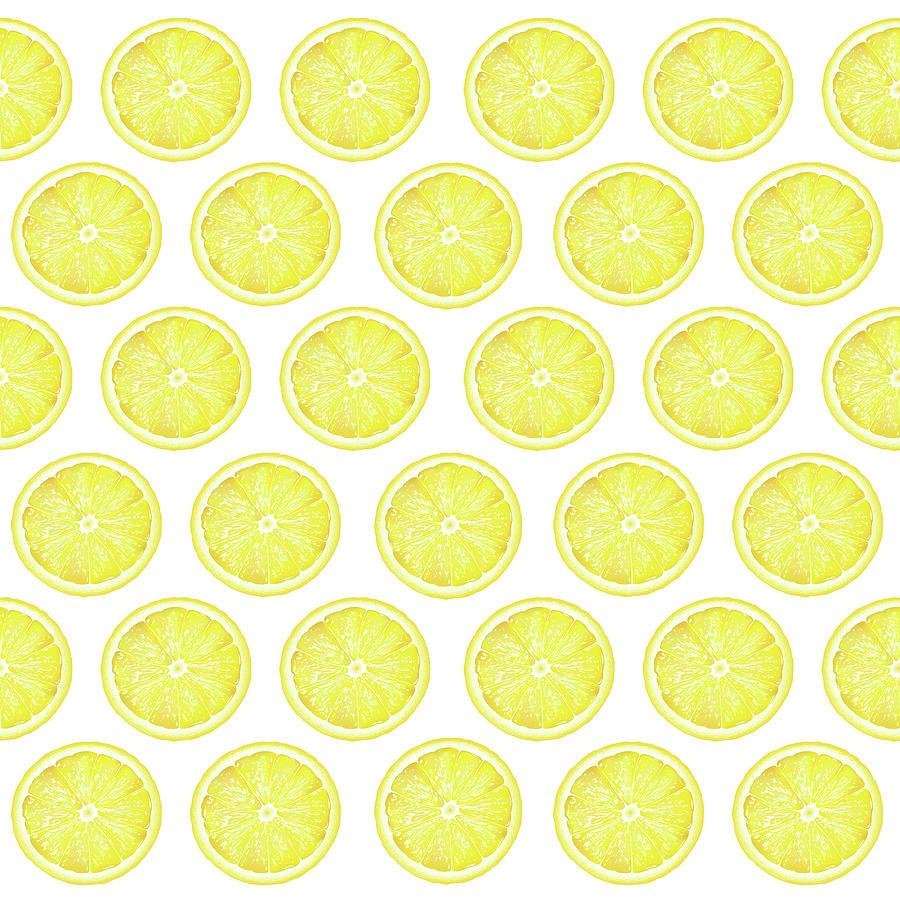 Lemon Mixed Media - Yellow Lemon Slice Pattern 1 - Tropical Pattern - Tropical Print - Lemon - Fruit - Yellow by Studio Grafiikka