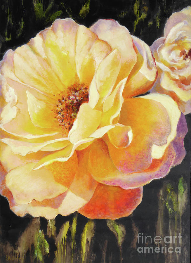 Rose Painting - Yellow Light by Ekaterina Mortensen