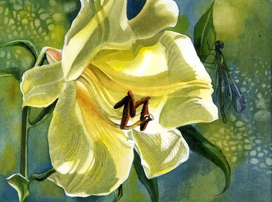 yellow lily with dragonfly by alfred ng